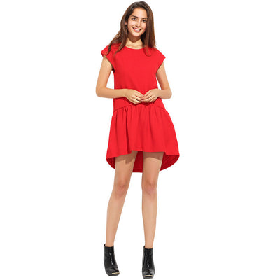 Online discount shop Australia - Dress Women Summer Short Sleeve Pleated Girl Mini Dress Irregular Loose O-Neck Solid Casual Party Dresses