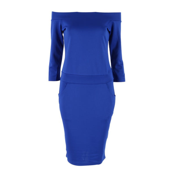 Online discount shop Australia - Fashion Club Clothing Summer Women Sexy Bodycon Dress Three Quarter Sleeve Slash Neck Dresses Casual Party Red Blue Black