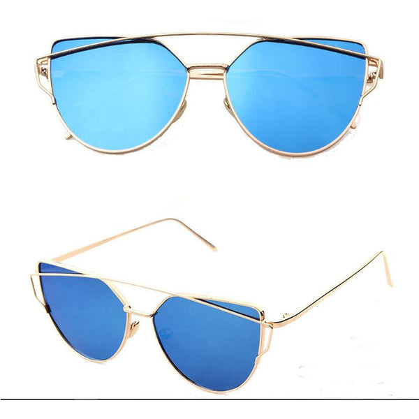 Pink vintage Mirror female Women Cat Eye Sunglasses Brand Designer Twin-Beams ladies Sun glasses for women