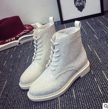 New influx of European and American sequined lace PU low cylinder boots Martin boots Korean female fashion round