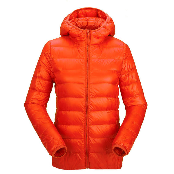 women ultra light down jacket hooded duck down jackets women slim long sleeve parka zipper coats pockets solid