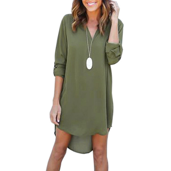 Online discount shop Australia - 3XL Women's Plunging Neck Chiffon Dress Long Sleeve Casual Tunic Shirt Dress Irregular Front Short Vestidos LX015