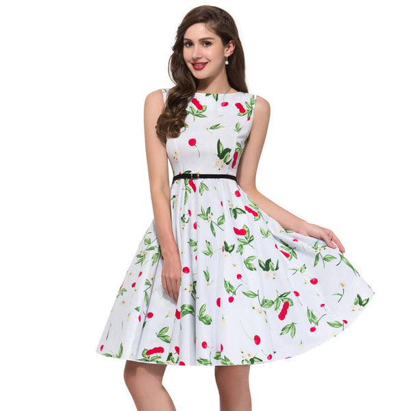 af9ff8f45ef8b Women Summer Dress plus size clothing Audrey hepburn Floral robe Retro  Swing Casual 50s Vintage Rockabilly Dresses Vestidos