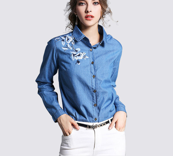 new fashion denim shirt women's long sleeve denim blouse embroidered denim shirts female vintage Jeans blouse casual tops