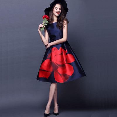 Women Dress Runway Elegant Vintage Rose Large Floral Print Midi High Waist Ball Gown Tank Dress