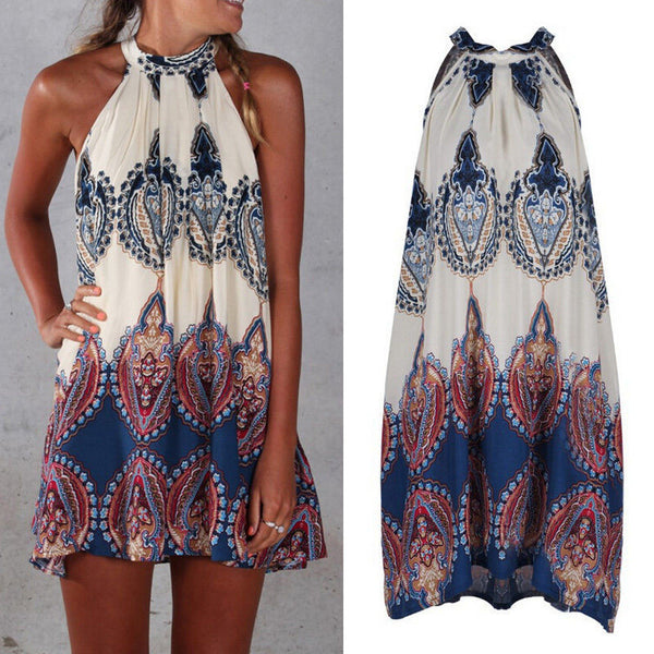 Online discount shop Australia - Hanging Neck Summer Dress Sexy Women Casual Sleeveless Beach Short Dress Mini Dress Vestidos Plus Size sexy beach dresses