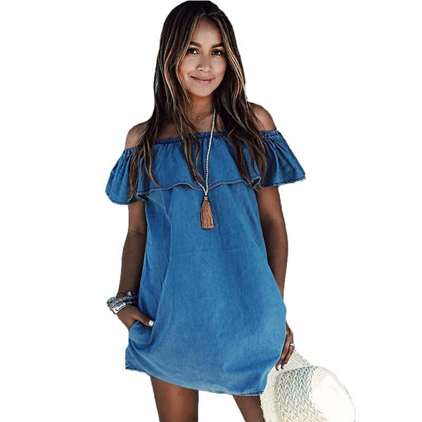 Women dress Designer Loose Off the shoulder Jeans Dresses Summer Casual Sleeveless ladies elegant Denim Dresses