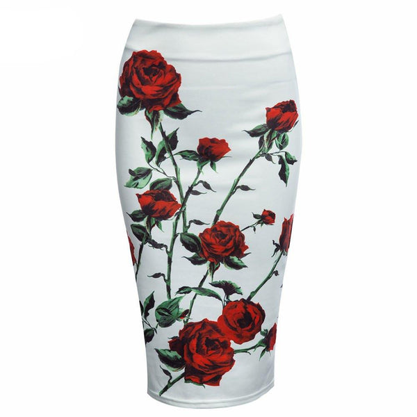 Women Pencil Skirt Floral Print Skirt Slim Hip Pencil Skirts Vintage High Waist White Pattern Bodycon Ladies Midi Skirts