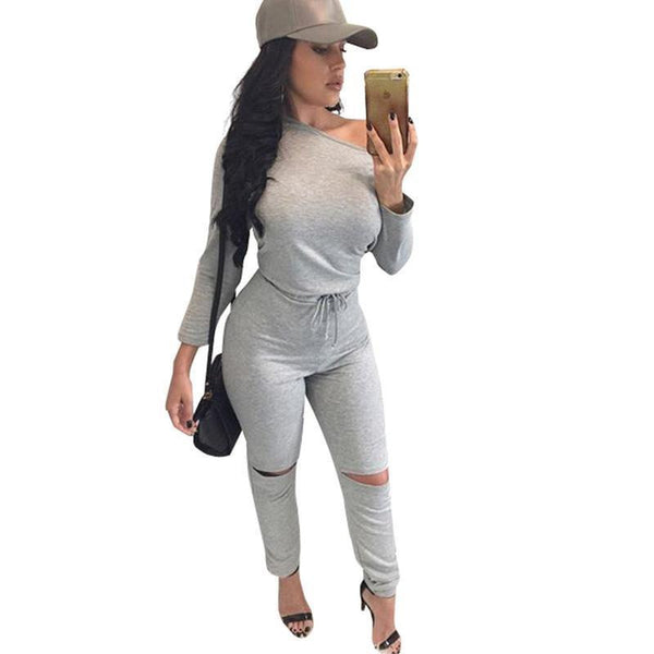 Online discount shop Australia - Glamaker Sexy off shoulder long sleeve jumpsuit romper hollow out gray jumpsuit women Fashion wine red jumpsuit