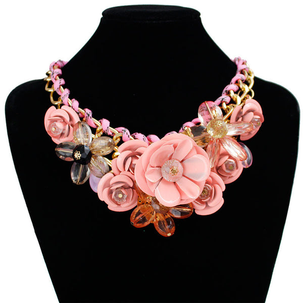 Online discount shop Australia - F&U Star Jewelry for women maxi necklace new design fashion statement necklace flowers necklaces & pendants