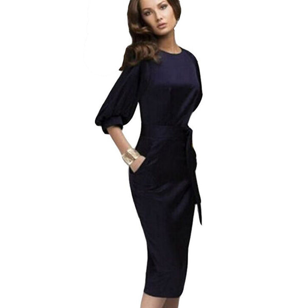Online discount shop Australia - Autumn Dress Womens Office Dresses Half Sleeve Formal Bodycon Midi Dress with Belt Ukraine Female Sexy Retro Women Clothing
