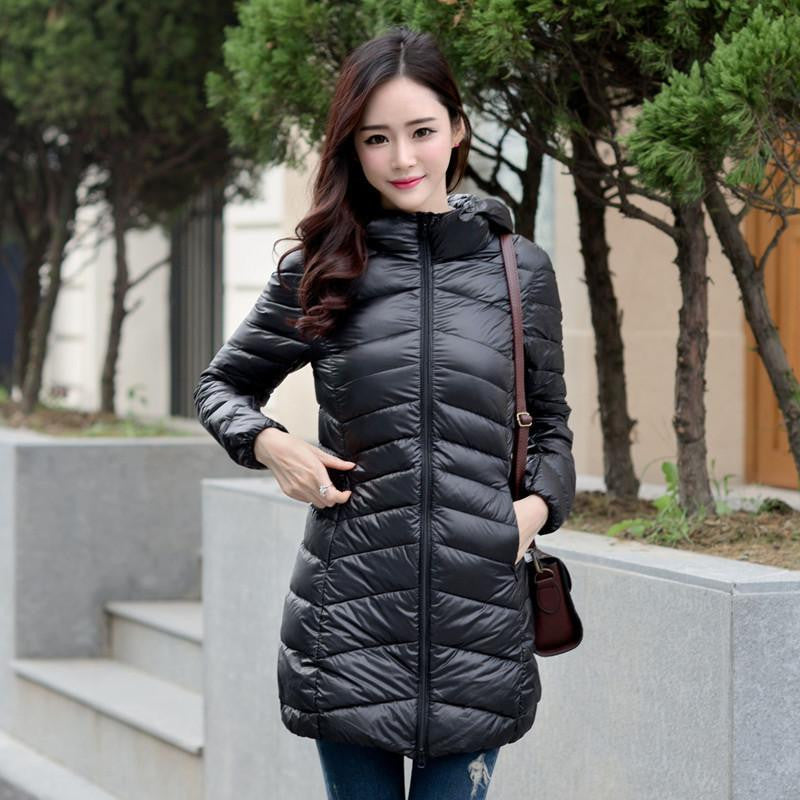 11accf593 Women Ultra Light Down Jacket Hooded Coat Long Jacket Women Brief Down  Jacket Female Jackets With Carry Bag