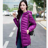 Women Ultra Light Down Jacket Hooded Coat Long Jacket Women Brief Down Jacket Female Jackets With Carry Bag