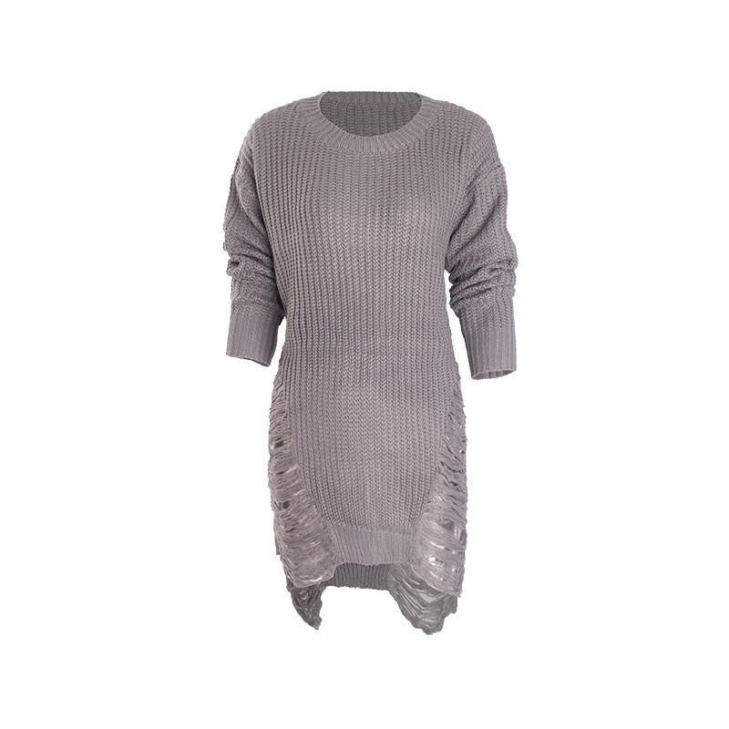 Women Loose Sweater Dress Fashion Winter Autumn Elegant vintage Dresses sexy Long Sleeve Casual Womens Clothing blackGrayLa