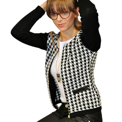 Online discount shop Australia - Fashion Women Slim Print  Jacket Casual Houndstooth Outwear Short Thin Zipper Tops