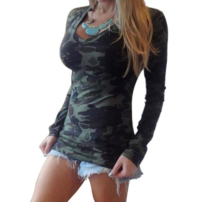 Women Camouflage T-shirts Army Print Clothes Long Sleeve T-shirt Shirts Fit Slim Top Tees