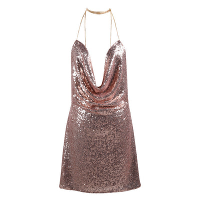 Online discount shop Australia - Missord Kendall Jenner's Sexy sleeveless Deep-V halter split sequin dress FT4928-1