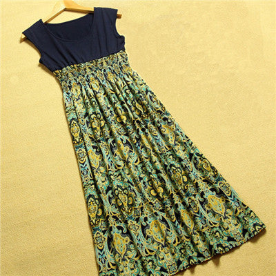 Online discount shop Australia - Delicate Summer Style Women Flower Floral Print Bohemia Sleeveless Vest Long Beach Dress for Ladies
