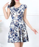 Women Summer Milk Silk Dress Short Sleeves Vintage Printed Flower Print sundress Casual sexy bodycon Dresses