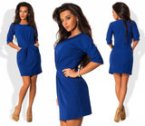 Women O-Neck Half Sleeved Silm Dress Bodycon Office Dress Autumn Red Blue Party Mini Dress Plus Size LJ7215E