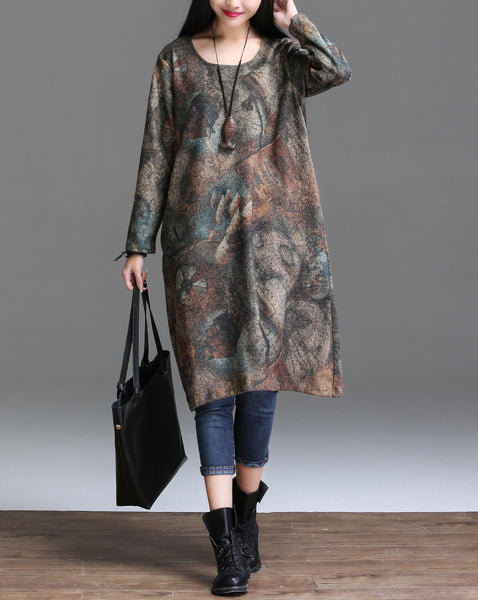 Online discount shop Australia - Autumn Arts Style Women long sleeve Dress Loose Casual Long Dress High Quality Vintage Print Dresses Plus Size YT25