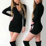 Online discount shop Australia - Dress Women Long Sleeve Sexy Party Black Knitted Dress Casual Bodycon Dress Vestidos Short Sweater Dresses