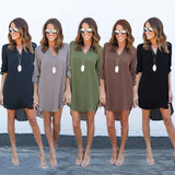 Online discount shop Australia - Dress Plus Size Casual Sexy Vintage Loose Long Sleeve Irregular Dress Chiffon Elegant Dress Women Dresses Vestidos
