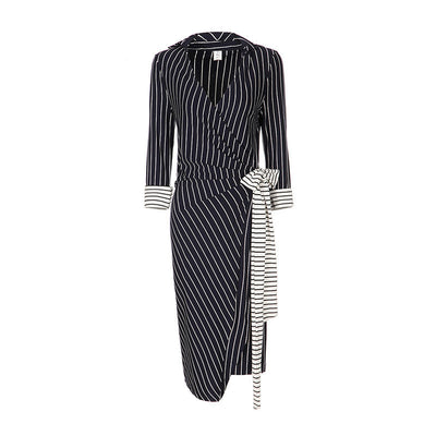 Online discount shop Australia - GCAROL Women V-Neck Nine Point Sleeve Bodycon Dress With Sashes Wrapped Striped OL Office Wear Elegant Long Dress For 4 Season