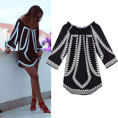 Women Dress Casual Off Shoulder Long Sleeve Loose Print Tops Blouse Party Beach Mini Dress