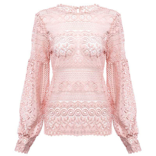Sexy White Lace Hollow Out Crochet Top Women Blouse Shirt Long Sleeve Casual Elegant Floral