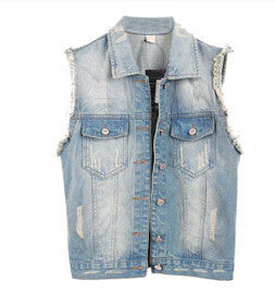 Denim Vest Women Coat Vintage Cardigan Jean Sleeveless Turn-down Collar Single Brted Colete Woman