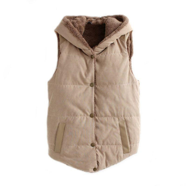 Women Warm Waistcoats Length Jacket Hooded Thick Cotton Velvet Sleeveless Vests Plus Size