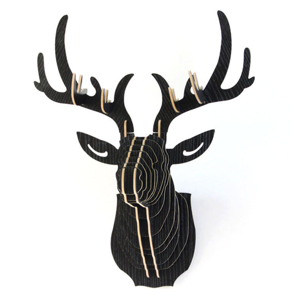 Online discount shop Australia - 3D Puzzle Wooden DIY Creative Model Wall Hanging Deer Head Elk Wood Gift Craft Home Decoration Animal Wildlife