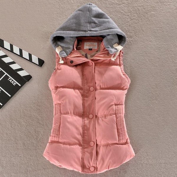Women Fashion Waistcoat Hooded Thick Warm Down Cotton Wool Collar Vest Female Large Size Jacket Outerwear