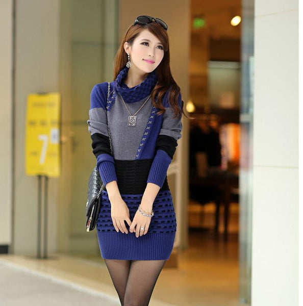 Uwback Winter Sweater Dress Women Knitted Turtleneck Long Warm Winter Dresses Female Slim Sweaters and Pullovers TB808