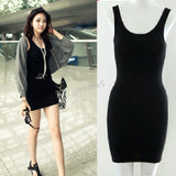 Online discount shop Australia - Long T-Shirt Design Lady Bottoming Solid Color Women One-piece Dresses Fashion Slim Hip Tight Tank Vest Dress
