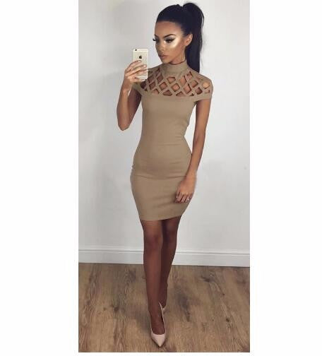 Online discount shop Australia - Autumn Women Dress Hollow Out Bodycon Dress Bandage Slim Night Club Party Dresses Sexy Dress LJ5669R