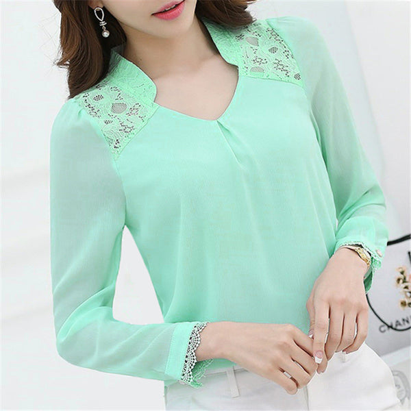 New Fashion Women Long Sleeve V Neck Lace Shirts Tops Plus Size 3 Colors