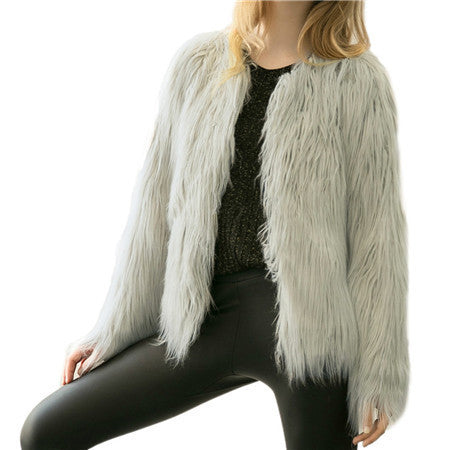Online discount shop Australia - Chic soft faux fur coat women Fluffy warm long sleeve female outerwear black elegant  coat jacket hairy overcoat