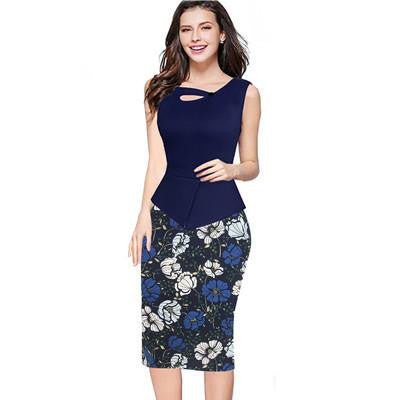 Summer Women Floral Print Patchwork Working Sheath Sundress Sleeveless Bodycon Office Plus Size 4XL 5XL Pencil Dress