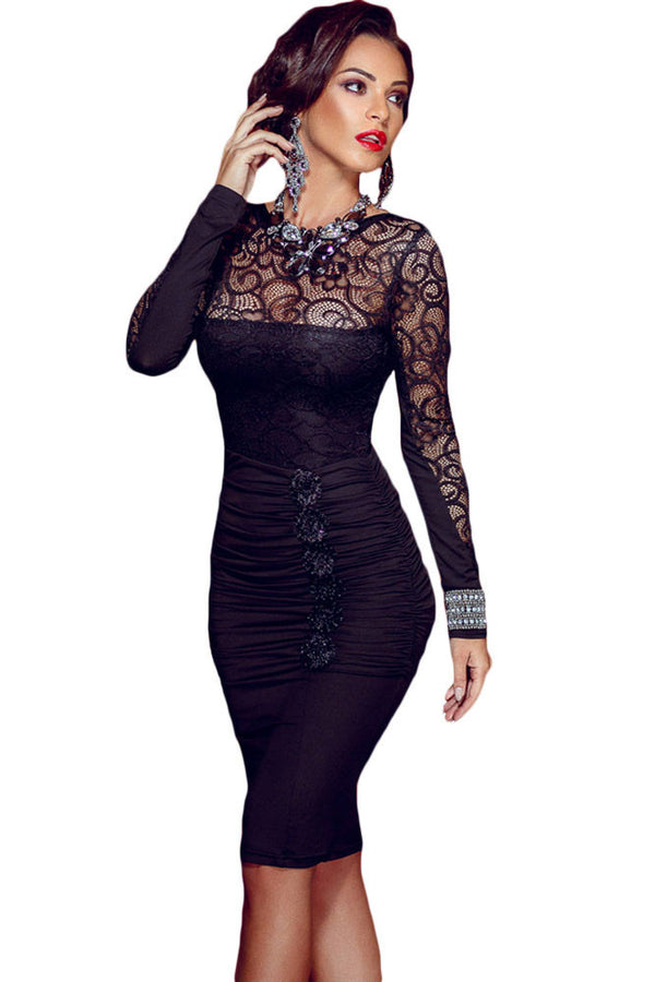 96317671ec6 black sexy Floral Applique Lace Bodycon Midi Dress with Long Sleeved LC60820