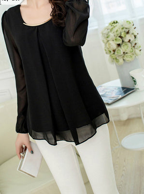 Online discount shop Australia - Fashionable Trend Large Size Pure Color Chiffon Tops Fresh Cozy Style Good Quality Loose Casual Blouse 7Color 9989