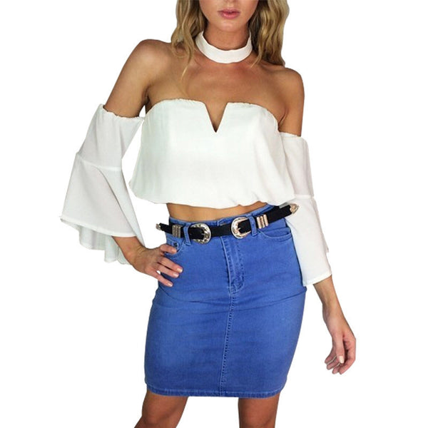 Fashion bustier chiffon white crop tops Sexy flare sleeve v neck party women tops new halter backless tops