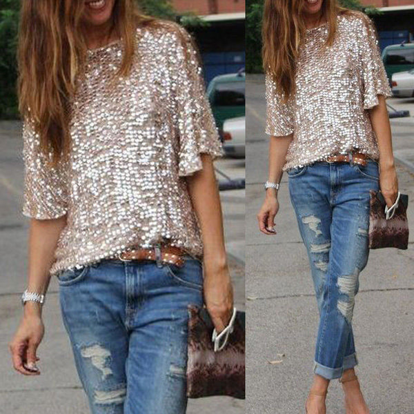 Online discount shop Australia - Fashion Sexy Sequined Bling Shiny Top Casual Loose Tops Off Shoulder Tees Women Shirt Shiny Shirt