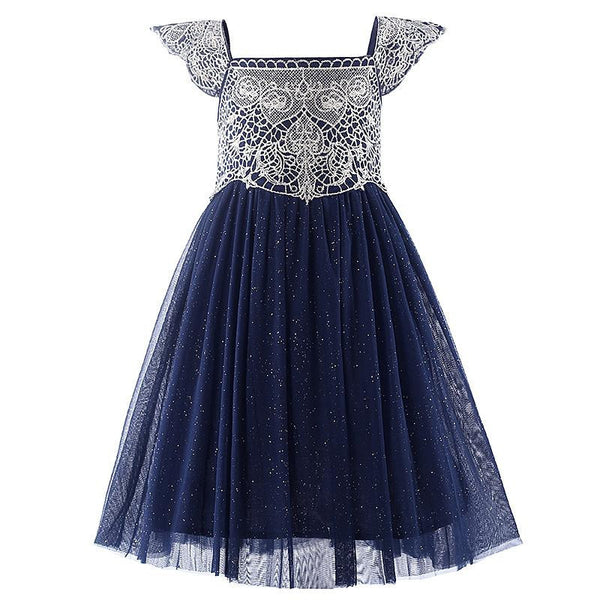 Style Navy Pink Tulle Girls Dress With Exquisite Embroidery Lace Top Grace Classic Kids Dress Children Wear
