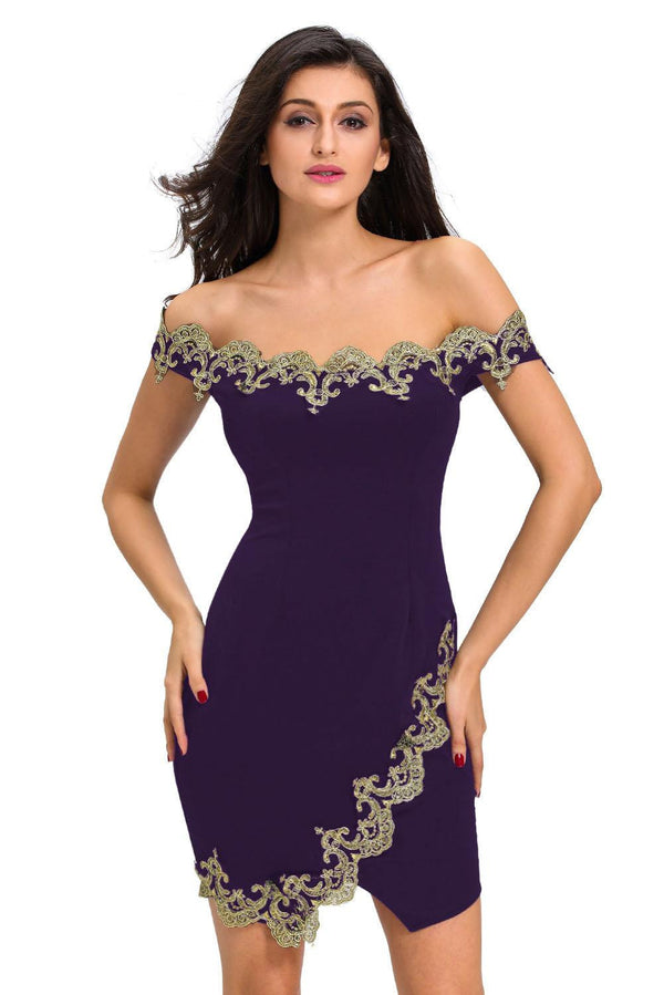 2a562ed8f49 elegant novelty Design Sexy Party Robes Gold Lace Applique Black Off  Shoulder Mini Dress