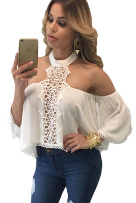 Women Style Sexy Off Shoulder Tops Newest Woman White Neck Bare Shoulders Flare Crop Top