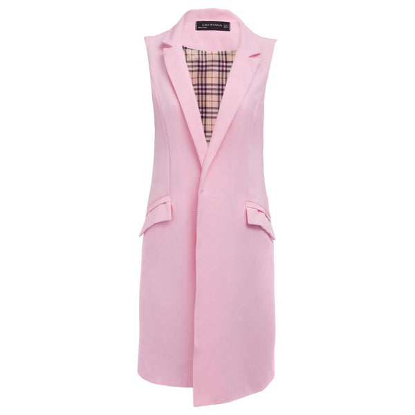 Online discount shop Australia - Long Vest Waistcoat Female Sleeveless Women Outwear Longline Jacket Pocket Blazer Coat Black Suit Vest