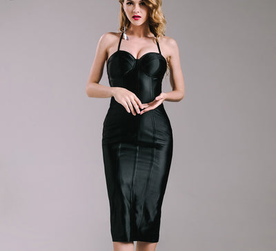 Online discount shop Australia - Missord Sexy bra sleeveless halter SPLIT dress FT4924