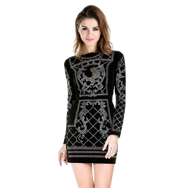 Online discount shop Australia - Missord Sexy O-neck long-sleeved geometric silver and gold studded velvet dress FT3610 Rhinestone
